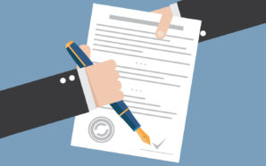 Vector agreement icon - hand signing contract on white paper
